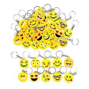 51WsRb4qsIL. SS300  - JZK 50 x Llavero Emoji llaveritos Emoticon Colgante decoración Bolsos Mochilas y Llaves regalitos Regalo Fiesta cumpleaños Navidad favores Boda para niños Adulto