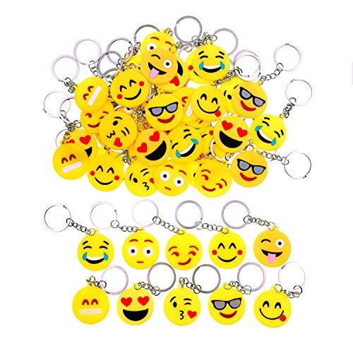 JZK 50 x Mini Emoji Schlüsselanhänger Tasche Anhänger, Mitgebsel Geschenk Gastgeschenk für Kinder Party Geburtstag Party