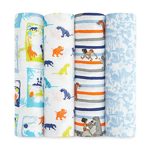 aden + anais Disney, Swaddle Blanket | Boutique Muslin Blankets for Girls & Boys | Baby Receiving Swaddles | Ideal Newborn & Infant Swaddling Set | Perfect Shower Gifts, 4 Pack, Jungle Book