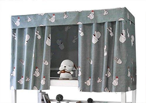 YSXY Bettvorhang für Kinder und Studenten, Vorhang Hochbett Schlafzelt Spielzelt Kinderbett Bett Etagenbett Studentenwohnheim Kinderzimmer,Kaktus Muster,Grau