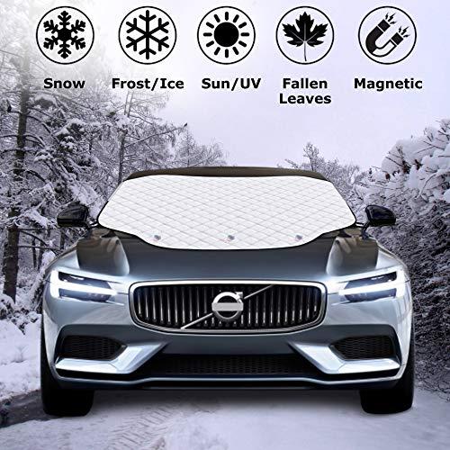 AlpoHome Auto Scheibenabdeckung, Frontscheiben Frostabdeckung magnetisch- Autoscheiben-Abdeckung mit 2 Ohren Winterabdeckung- Hitzeschutz UV-Schutz- Sonnenblende