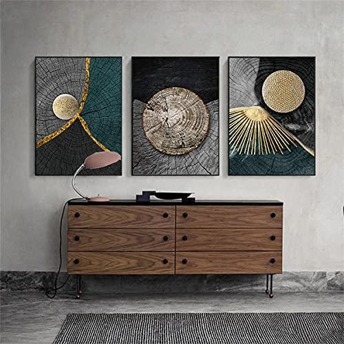 zachking Abstrakte Goldene Schwarze Hölzerne Textur Leinwand Malerei Poster Und Drucke Moderne Nordische Wandkunst Bilder Für Wohnzimmer Wohnkultur. 50x75cm NoFramed