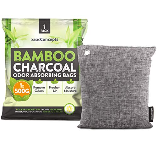 Bamboo Charcoal Air Purifying Bag, Eliminate Bad Odors, Activated Charcoal Odor Absorber (500g), Charcoal Air Freshener Bags for Car, Home, Closet, Gym Bag and more, Charcoal Deodorizer Bags (500g)