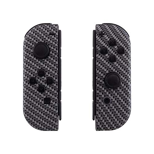 eXtremeRate Soft Touch Grip Black Silver Carbon Fiber Joycon Handheld Controller Housingwith Full Set Buttons, DIY Replacement Shell Case for Nintendo Switch Joy-Con – Console Shell NOT Included