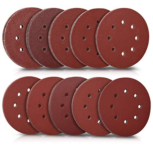 Navaris 100x Klett Schleifpapier rund für Exzenterschleifer - 40-400 Körnung ø 125mm Schleifscheiben Set für Holz Holzwerkstoffe Spanplatte Metall