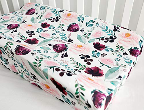 Baby Girls Boy Crib Bedding Changing Pad Cover Changing Table Pads Pink Wine Floral