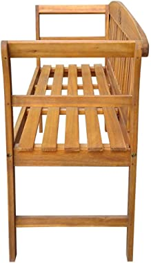 vidaXL Solid Acacia Wood Garden Bench Weather Resistant Slatted Design Outdoor Lounge Seat Backyard Armchairs Patio Furniture