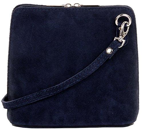 Primo Sacchi Damen Italienisches Wildleder Leder Kleine dreieckige Umhängetasche oder Umhängetasche Handtasche Marineblau