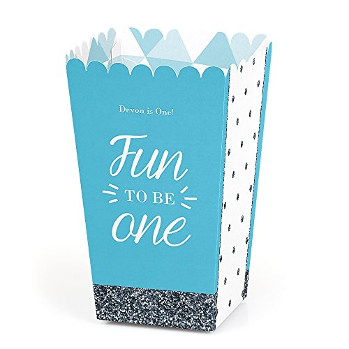 Big Dot of Happiness Personalized Fun to be One - 1st Birthday Boy - Custom Birthday Party Favor Popcorn Treat Boxes - Custom Text - Set of 12