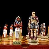 Juego de Ajedrez Tablero de Ajedrez Conjunto de ajedrez Luxury Hand Tallado Dibujado a mano Egipcio Guerra romana Piezas de ajedrez Coleccionable Ajedrez Niños Juguetes educativos Fiesta de la Familia