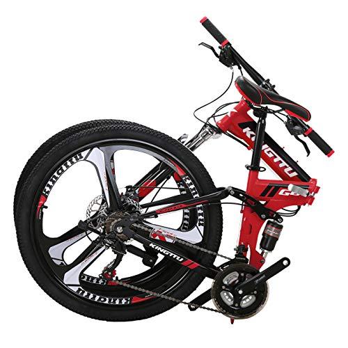 Kingttu G6 Mountain Bike 26 Inches 3 Spoke Wheels Dual Suspension 21 Speed Folding Bike Red