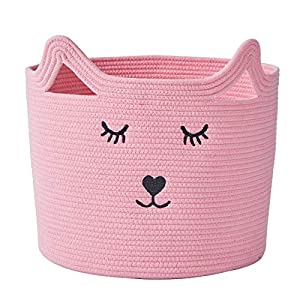 """InfiBay Baby Nursery Organizer for Toys, Baby Clothes Hamper with Handles, Toy Storage Bin for Nursery, Cute Nursery Storage Basket with Cute Cat Design, Pink Cotton Rope Basket, 11.8 """"(D) x 11.4 """"(H)"""