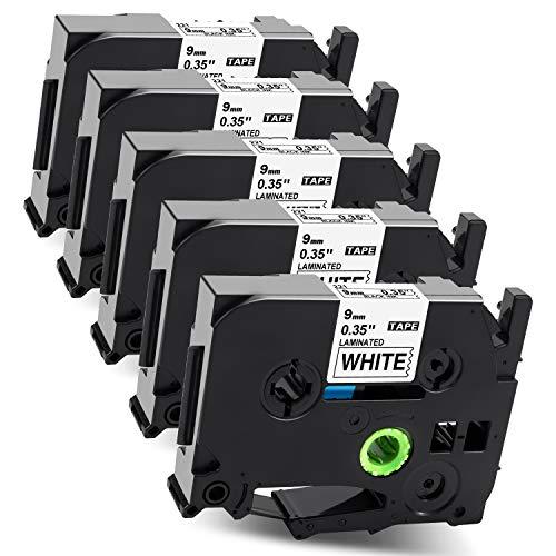 Label KINGDOM Kompatibel Schriftband als Ersatz für Brother P Touch 9mm Tz Tape Tze-221 TZ221 Laminiert Beschriftungsband Cassette für Ptouch E110 H110 Cube D400 H105 PT300, Schwarz auf Weiß, 5stk.