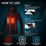 CONQUECO Damen Beheizte Jacke Beheizbare Softshell Heiz Jacke Wasserdicht Winddicht warm mit Akku und Ladegerät zum Outdoor Arbeiten (S) - 8
