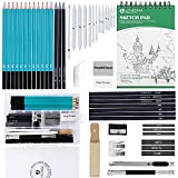Drawing Kit Set,50PCS Art Supplies for adults teenage girls,Drawing Sketch Pencils Kit with Graphite/Charcoal Pencils,Erasers and 100 Page Sketch Pad(50PCS)