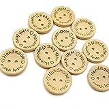 Botón de madera 100pcs hebilla redonda amor para DIY coser y hacer manualidades decorativas, color madera