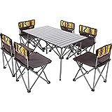 CIVIKY Juego de 7 mesas y sillas plegables portátiles con bolsa de transporte para jardín al aire libre, patio, camping o barbacoa de viaje