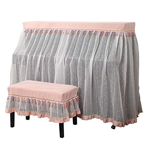 Buy BWAM-hom Piano Keyboard Dust Cover Upright Full Piano Cover with Bench Cover Cloth Cotton Lace D...
