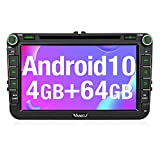 Vanku Android 10 Autoradio für Golf 5 6 Touran Polo Radio 64GB + 4GB 8 Core mit Navi Unterstützt Qualcomm Bluetooth 5.0 aptX DAB + CD DVD Android Auto WiFi 4G 8 Zoll IPS Touchscreen