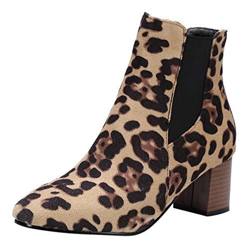 Logobeing Botines Mujer Tacon Invierno Planos Tacon Ancho Zapatos con Estampado de Leopardo para Mujeres Botas Cortas de Felpa Botines de Tacón Alto Zapatos Plataforma (38, Amarillo)