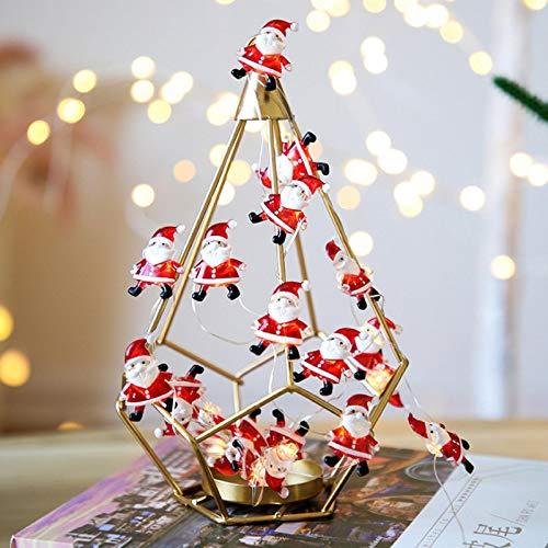 QETUOAD Santa decorar la cadena de la lámpara funciona con batería al aire libre jardín césped impermeable lámpara Festival Fiesta Árbol de Navidad decorativo cadena de luz de color cálido 30LED