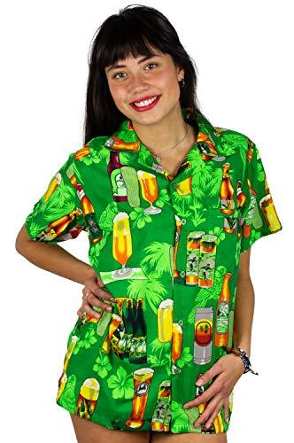V.H.O. Funky Hawaiihemd Hawaiibluse, Bierflaschen, grün, M