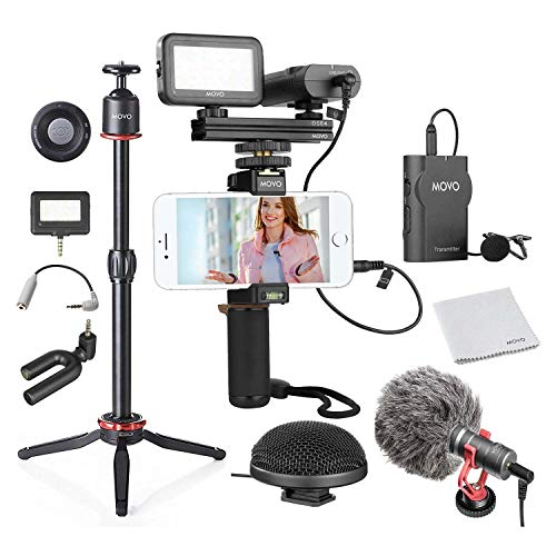 Movo Huge Smartphone Video Kit V8 with Mini Tripod, Grip Rig, Wireless Shotgun Mini and 360° Stereo Microphones, LED Lights, and Remote - for iPhone, Samsung - YouTube, TIK Tok, Vlogging Equipment