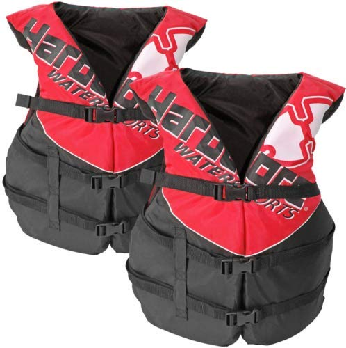 Hardcore Water Sports 2 Pack Adult Life Jacket PFD Type III Coast Guard Ski Vest Red HC110R