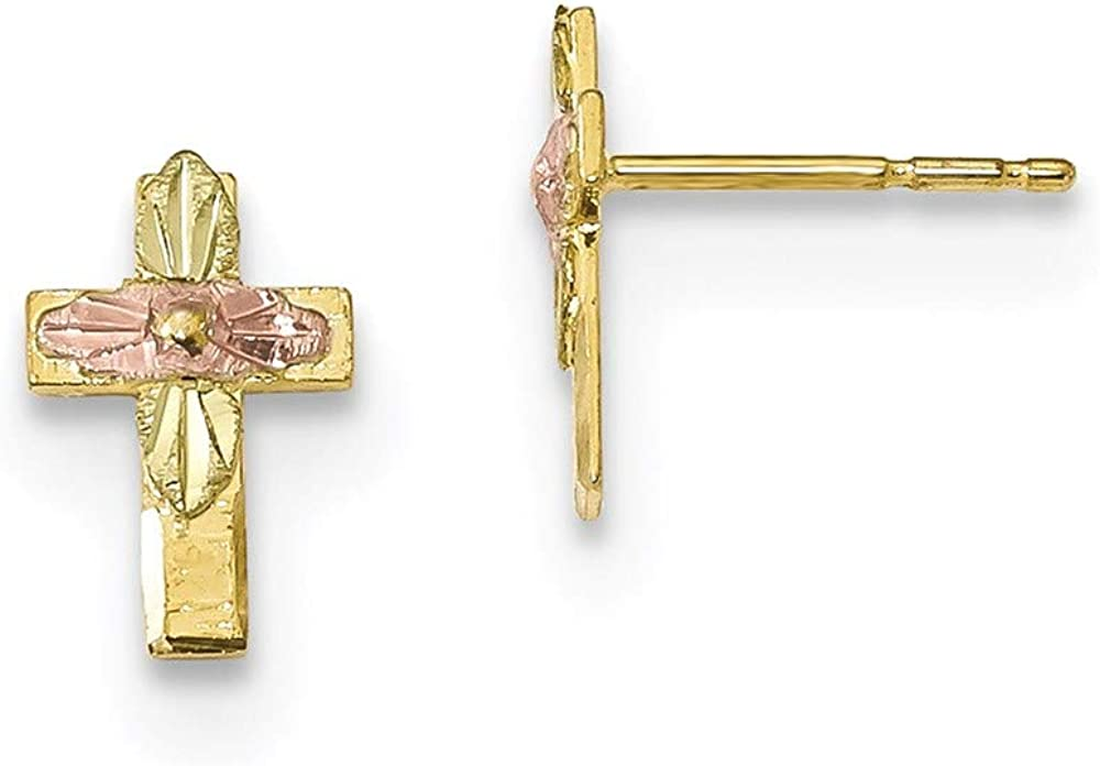 10k Tri-Color Black Hills Gold Cross Earrings 10.36mm 6.58mm style 10BH697