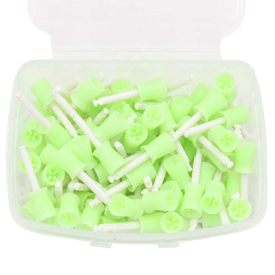 助手サンダー受粉者Healifty ポリッシュポリッシュカップブラシ100本歯科用ポリッシングゴムカップ使い捨て低速歯ポリッシャーカップオーラルケアツール(グリーン)