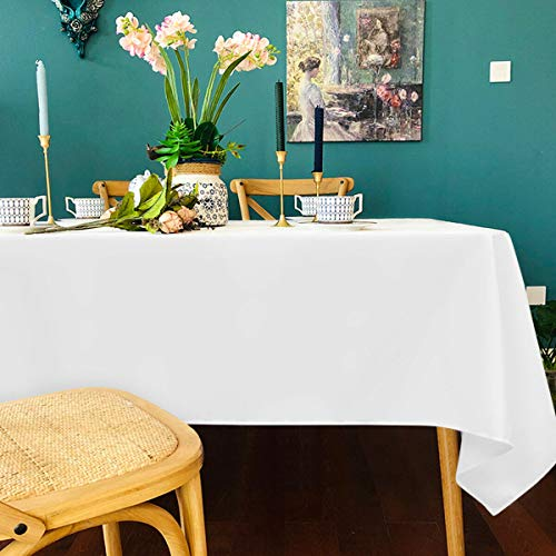 """Giantex 10PCS Rectangle Tablecloth, Machine-Washable Polyester, Stain-Resistance & Wrinkle-Resistance, Durable Table Cloth Great for Wedding Birthday Party Banquet (White, 90"""" x 132"""")"""