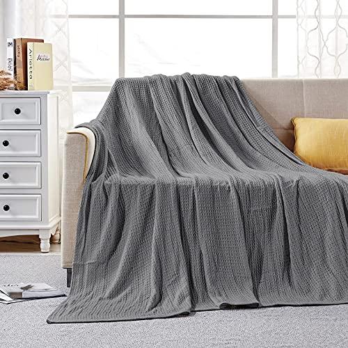 softan 100% puro cotone, coperta e copriletto extra morbida e accogliente in tessuto a nido d ape, letto matrimoniale, 230 x 230 cm, colore: grigio