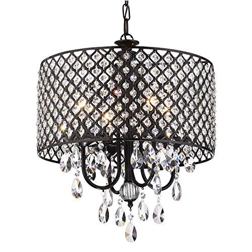 Marya 4-Light Antique Black Metal Round Drum Shade Crystal Chandelier Ceiling Fixture. Beaded Drum Shade