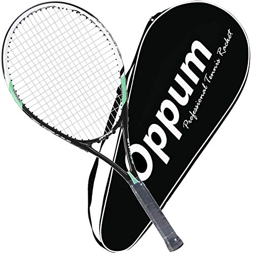 OPPUM Adult Carbon Fiber Tennis Racket, Super Light Weight Tennis Racquets Shock-Proof and Throw-Proof,Include Tennis Bag Tennis Overgrip (Aluminum-Carbon Racquet(Balck Green), 4 3/8)