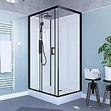 Cabina de ducha rectangular 80 x 110 cm con puerta corredera + plato acrílico reforzado