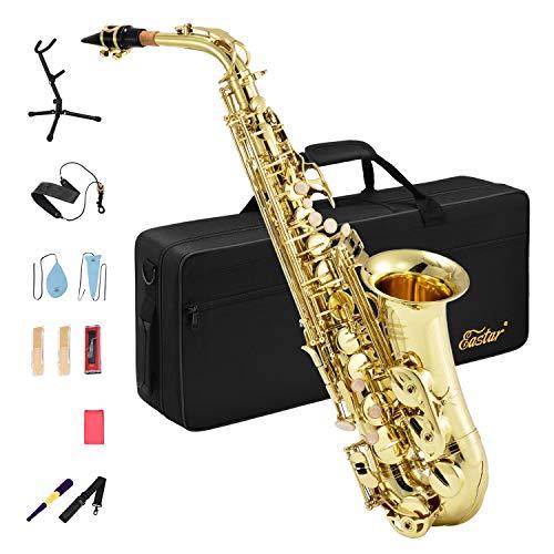 Eastar Alt Saxophon Student Lackiertes Goldenes E Flache AS-Ⅱ mit Reinigungsbürste Korkfett Tragetasche