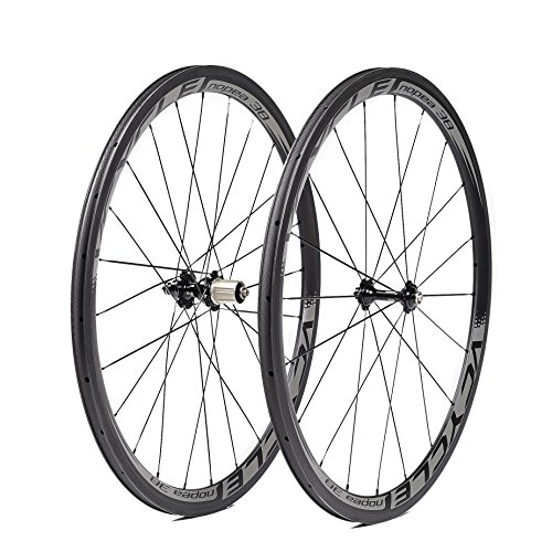 VCYCLE Nopea 700C 38mm Fibra de Carbono Bicicleta Ruedas Remachador 23mm Ancho Shimano o Sram 8/9/10/11 Velocidades