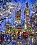 N/C DIY Pintura al óleo Pintura por números Kit para Adultos Principiantes-Londres Big Ben-Cumpleaños Boda Nuevo alojamiento Decoraciones navideñas Regalos 16*20 Pulgadas sin Marco
