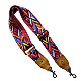 LaViePool Wide Guitar Straps for Handbags Purse Strap Crossbody Strap Adjustable Removable Replacement Hook Connection with Thick Cowhide Genuine Leather Ends ( 2 Inch Width Length 33.5-51'')