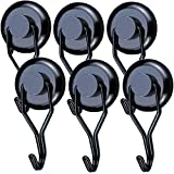 Youngneer Ganci Magnetici, per Frigorifero Attrezzi Appendere Chiavi 45KG Magnete Potente Ganci Calamitati Magneti Neodimio Gancio Magnetico per Lavagna da Cucina Nero (6 Pack)
