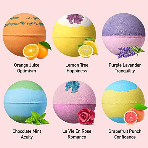 Lagunamoon Upgrade Bath Bombs Gift Set, 6 XXL Natural Fizzy Handmade with Organic Essential Oils, Sea Salt, Shea Butter & Coconut Oil to Moisturize Skin, Relaxing Spa, Perfect Gift for Women & Kids