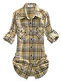 Match Women's Long Sleeve Plaid Flannel Shirt #2021(Medium, Checks#3)
