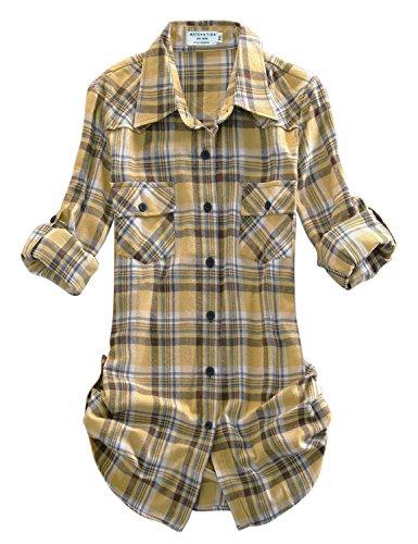Match Women's Long Sleeve Plaid Flannel Shirt #2021(X-Small, Checks#3)