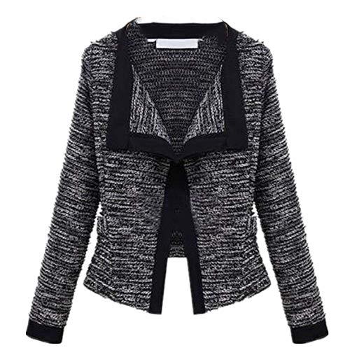 Abrigo corto de lana de cáñamo de manga larga para mujer, estilo estrella, para primavera y verano