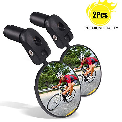 Bike Mirrors for Handlebars 2PCS Adjustable Rear View Mirror for Bikes Universal for Road/Mountain/Kids/Ebike Bicycle
