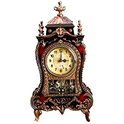 Mantel Clock,Archaistic Decorative Table Clock Vintage Chiming Clock with Swinging for Living Room,Office,Home Decor, Battery Operated