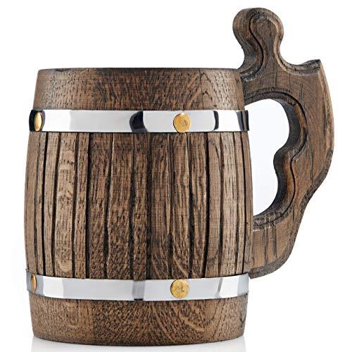 Grande boccale da birra in legno di rovere, realizzato a mano con incredibile capacità artigianale e lavorazione di qualità, rivestito in metallo, robusto, di lunga durata