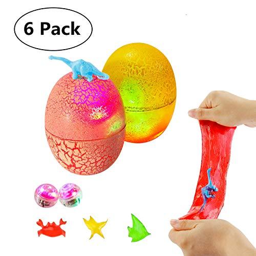 Theefun 6 Paquete Huevos viscosos de Dinosaurio con Sorpresa en su Interior - Juguetes no pegajosos, para aliviar el estrés, Muy Suaves y elásticos con Luces LED Intermitentes