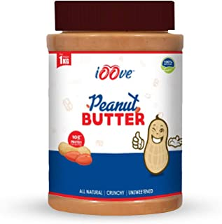 iOOve Natural Peanut Butter | CRUNCHY | 100% Natural | No Added Sugar | 1 Kg