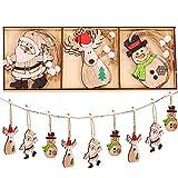 Youyike adornos árbol de navidad,9 piezas colgante navideño de madera,diy madera colgante adornos,para árbol de navidad y decoración de fiesta (mz363)